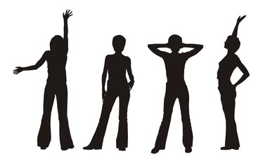four woman's silhouettes