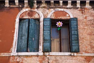 Glass flower in the window