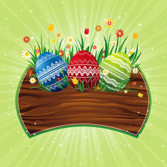 easter eggs on th wood shield, vector illustration