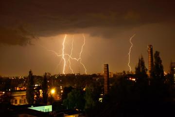 Lightning during night thunderstorm
