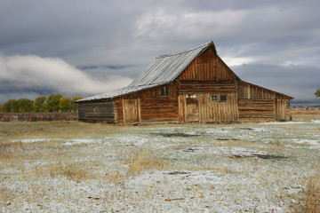 Mormon Barn Sits Below Grand Teton Mountains