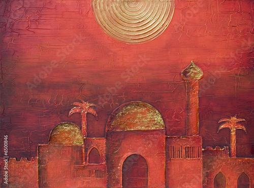 gemalte orientalische stadt stockfotos und lizenzfreie bilder auf bild 6500846. Black Bedroom Furniture Sets. Home Design Ideas