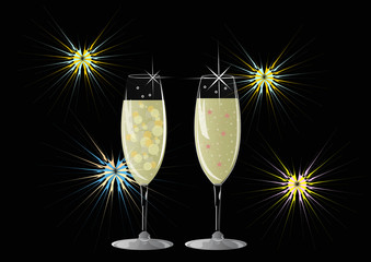 stylized fireworks display and champagne glasses