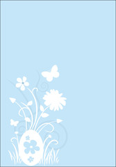 Dekorativer Hintergrund mit Frühlingsblumen und Osterei