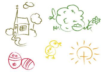 Ostern: Kirche, Ostereier, Osterhase, Küken und Kreuz