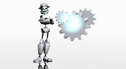 robot with gear logo