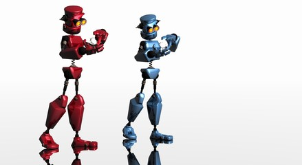 red and blue cg robots