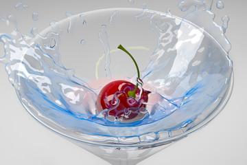 Cherry splashing into a cocktail glass