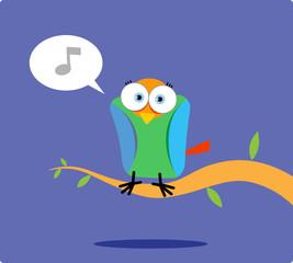 Cartoon colorful bird singing