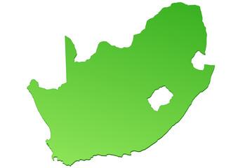 Carte d'Afrique du Sud verte