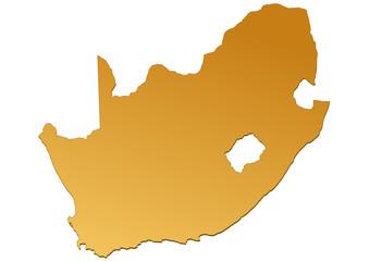 Carte d'Afrique du Sud marron