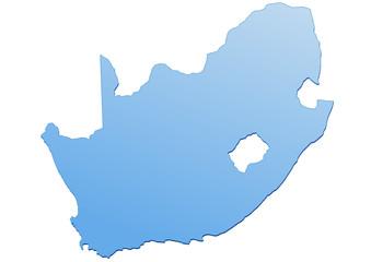 Carte d'Afrique du Sud bleu