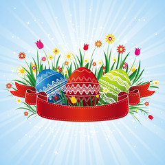easter eggs with red ribbon, vector illustration
