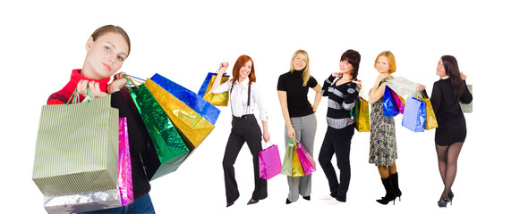 """six shopping girls isolated - of my """"shopping women"""" series"""