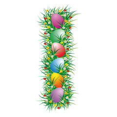 Easter letter I with eggs hidden in the grass