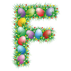 Easter letter F with eggs hidden in the grass
