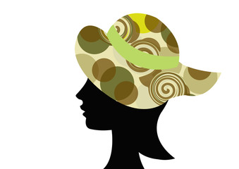 Wall Mural - female wearing hat with camouflage pattern design