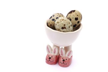 quail eggs on bunny candle holder
