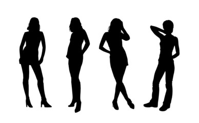 four vector silhouettes of girl's