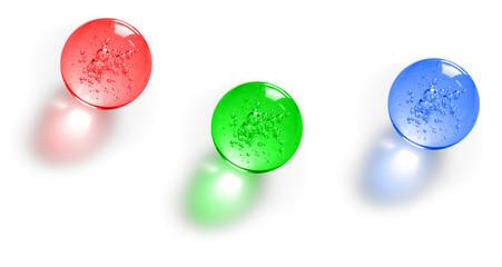 Three color glass balls