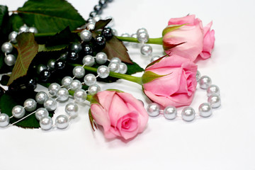 Pink roses with beads