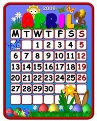 calendar april 2009