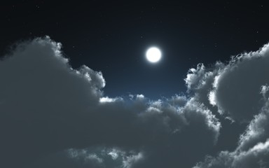 clouds and moon in the night
