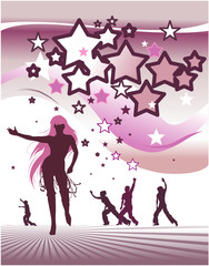 Stars background with dancing people