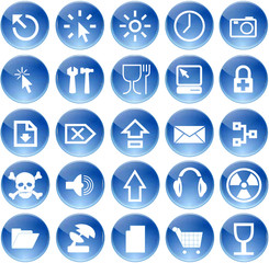 glassy blue media icons