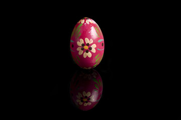Easter eggs on black mirror, hand painted