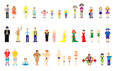 vector illustration of pixel people for web
