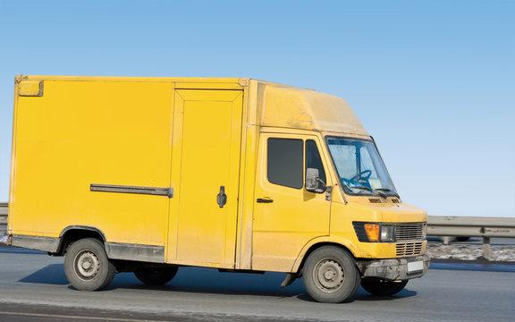 "yellow blank delivery van truck of ""Trucks"" series"