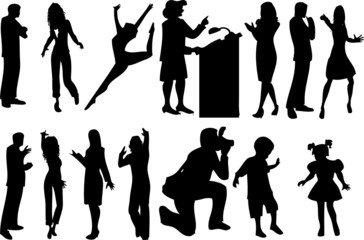 14 silhouettes of people