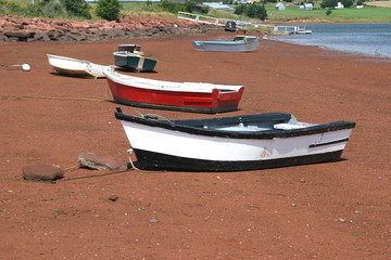 Row Boats on a Prince Edward Island beach.