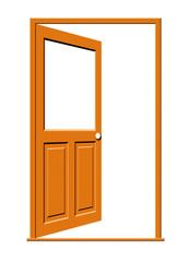 Open Wood Door with Blank Window Illustration