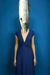 elegant girl with big fish