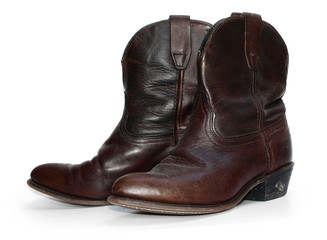 Rustic old leather cowboy boots