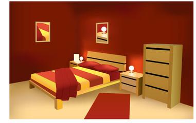 red modern bedroom vector