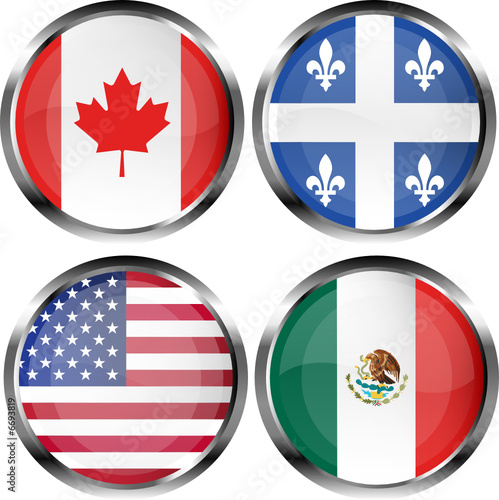 North American Flag Buttons Canada Quebec USA And Mexico - Usa and mexico