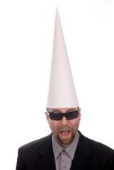 Dunce cap on man