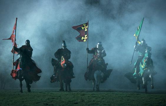 mediaeval knights on horseback