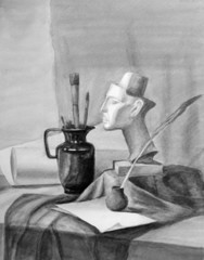Still life with Nefertiti sculpture