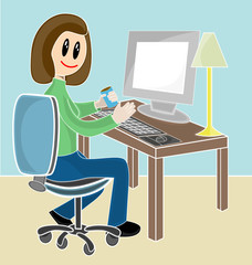 Cartoon female sitting at desk holding drink infront computer