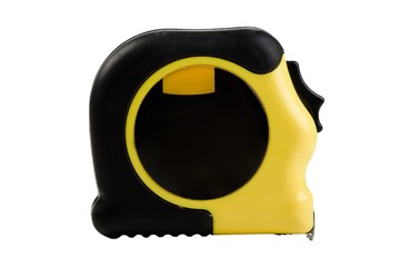 Yellow and Black Measuring Tape on a white background
