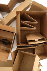 Cardboard boxes, from above