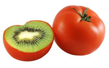 Genetic engineering - tomato with kiwi inside