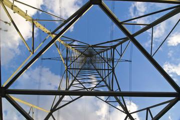 Stomleitung und Strommast unter blauem Himmel