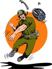 Keuken foto achterwand Militair Soldier throwing a grenade in front