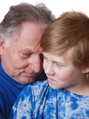 grandfather with boy close-up