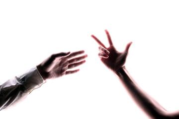 hände erreichen drei finger